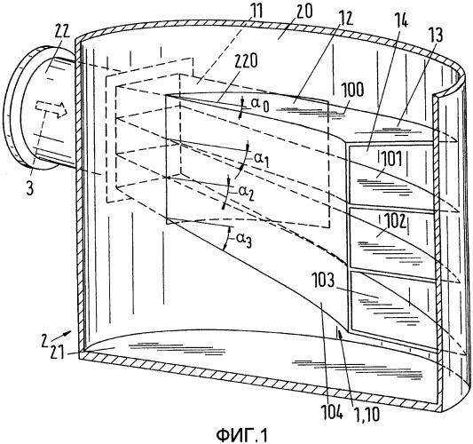 Входное устройство для тангенциально подаваемой в прибор текучей среды