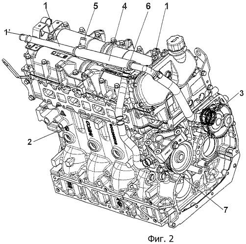 Система нагрева паров масла, проходящих через контур, размещенный снаружи двигателя транспортного средства, а также двигатель транспортного средства, имеющий такую систему