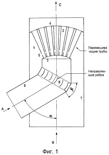 Перемешивающее устройство с низким перепадом давления и его применение для смешивания двух газов/паров