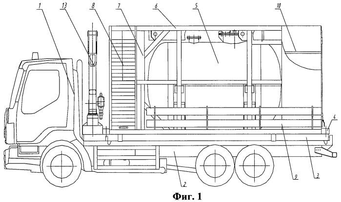 Спецавтомобиль для транспортирования и временного хранения жидких радиоактивных отходов