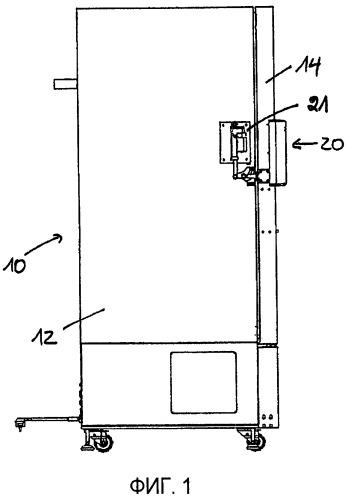 Устройство для открывания двери кондиционера шкафного типа, термостата, камеры моделирования окружающей среды, низкотемпературного аппарата или подобного устройства (варианты)