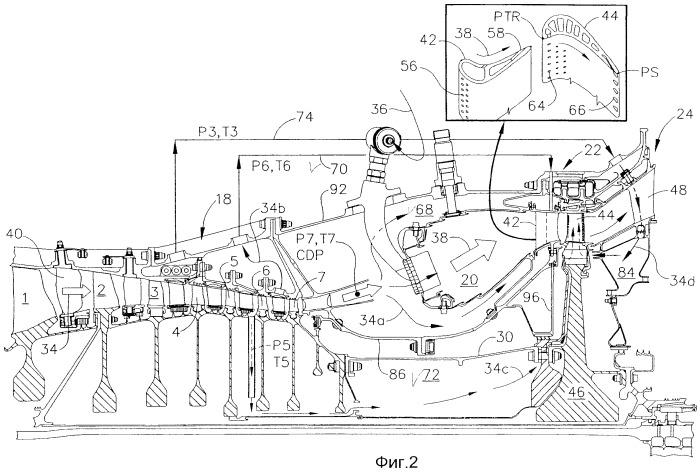Двигатель с компаундным охлаждением турбины