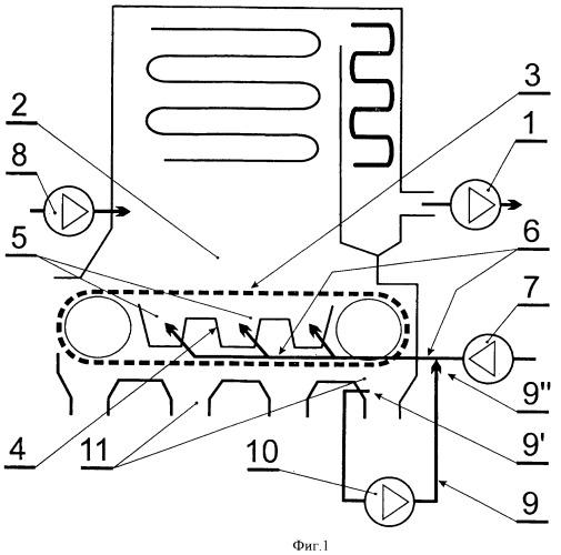 Способ удаления воздуха, не участвующего в сжигании твердого топлива в топке котла, и котел с механической подачей твердого топлива