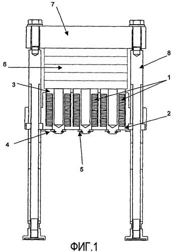 Устройство для зажима пластин проточного модуля, пластин реактора или пластин теплообменника