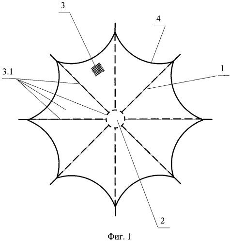 Зонтичная антенна космического аппарата