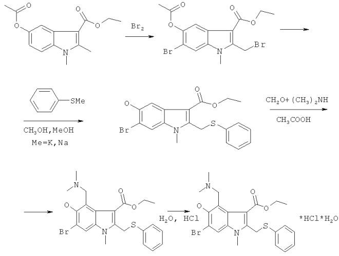 Способ получения этилового эфира 6-бром-5-гидрокси-4-диметиламинометил-1-метил-2-фенилтиометилиндол-3-карбоновой кислоты гидрохлорид моногидрата и его  -кристаллическая форма