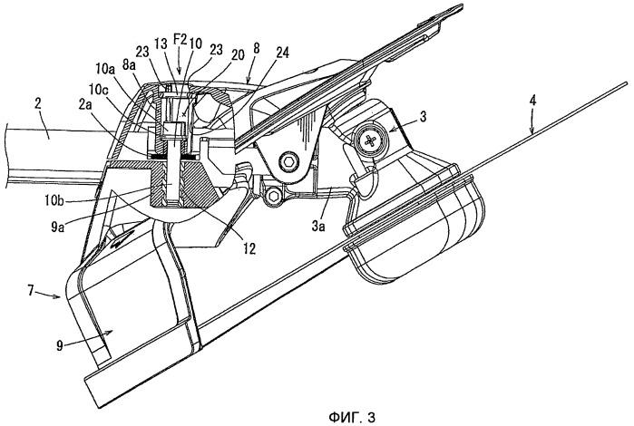 Соединительное устройство для соединения защитного приспособления ножа с корпусом садового инструмента