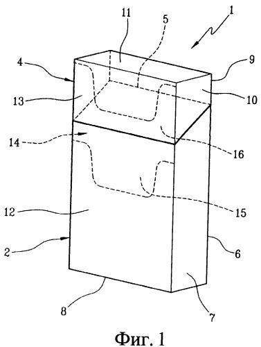 Жесткая пачка с откидной крышкой для табачных изделий, заготовка для изготовления каркаса и заготовка для изготовления коробки и крышки жесткой пачки