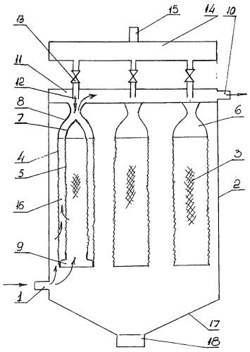 Рукавный фильтр для очистки газа от пыли с короткоимпульсной продувкой