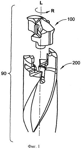 Вращающийся режущий инструмент с устанавливаемой с возможностью раскрепления самозажимной режущей головкой с запирающим элементом