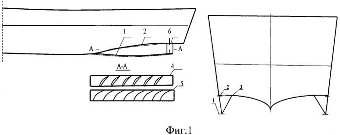 Устройство для умерения бортовой качки и повышения мореходности быстроходных катеров, легких судов и кораблей с остроскулыми обводами