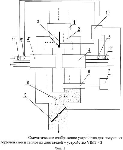 Устройство для получения горючей смеси для тепловых двигателей vimt-3