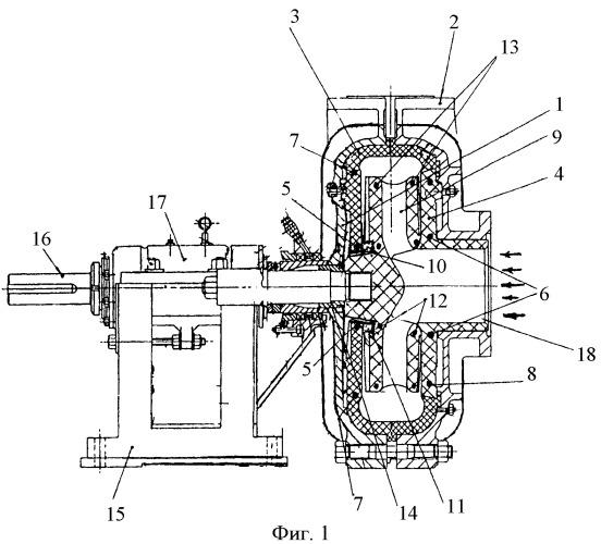 Центробежный насос с предварительно напряженными эластомерными элементами проточной части (варианты)