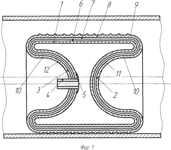 Заглушающее резинокордное устройство для перекрытия трубопроводов