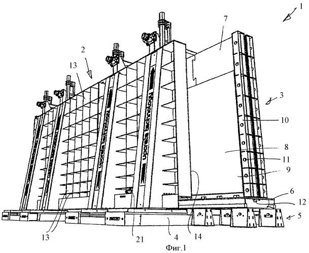 Батарейная опалубка для вертикального изготовления плоских готовых деталей из бетона