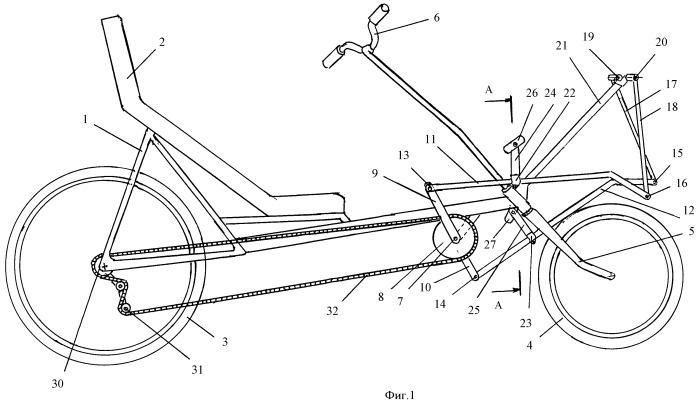 Велосипед рикамбент с линейным приводом