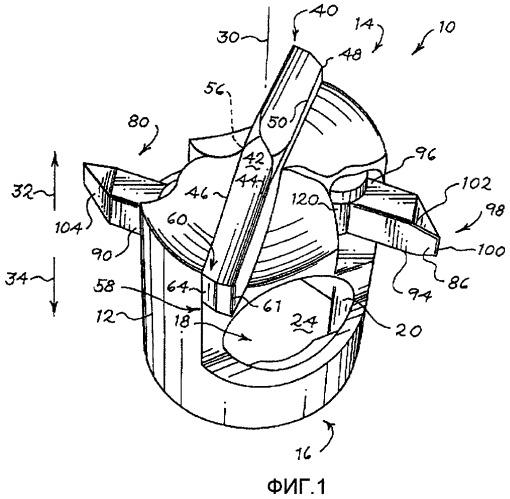Вращающееся буровое долото и способ для создания винтовой канавки в шпуре, образованном в пласте