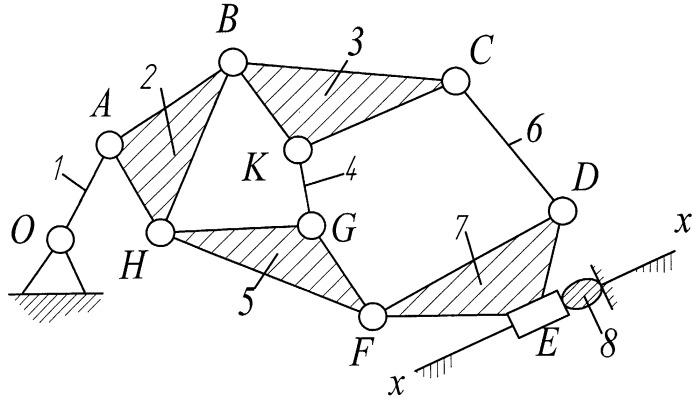 Кривошипно-ползунный механизм со сложным шатуном