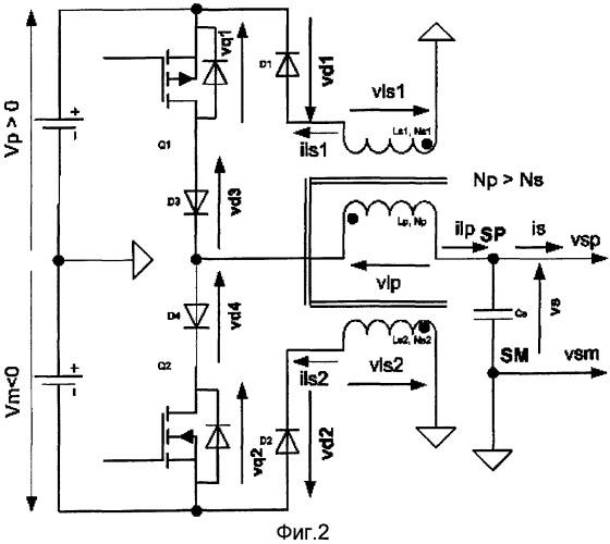 Однополюсный или двухполюсный развязывающий преобразователь с двумя магнитосвязанными обмотками