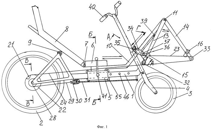 Велосипед с линейным педалированием и греблей