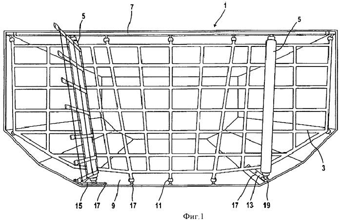 Сеточная конструкция для грузового отсека, предпочтительно в самолете, и адаптер для нее