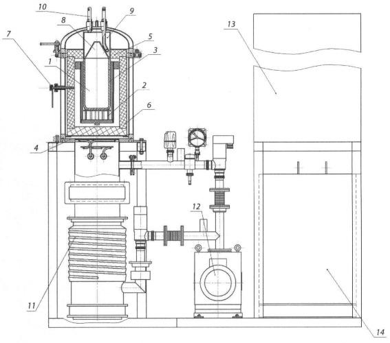 Вакуумная шахтная электропечь сопротивления для вакуум-термического получения лития