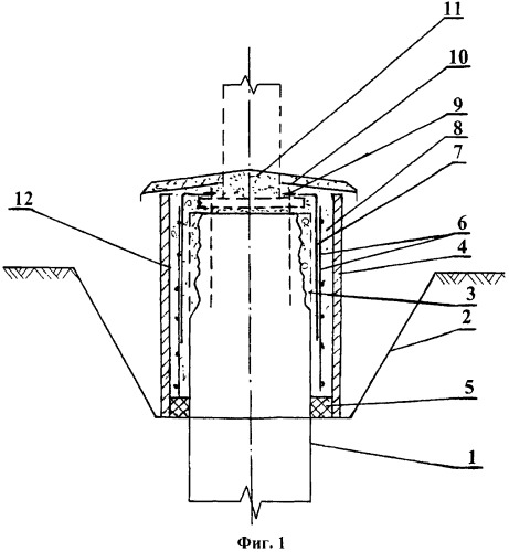 Способ усиления фундаментов и крепления к ним стальных опор линий электропередачи