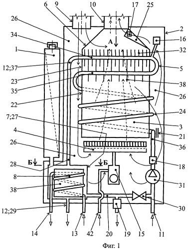 Котел для отопления и горячего водоснабжения, теплообменник котла, буферная емкость котла и способ работы котла