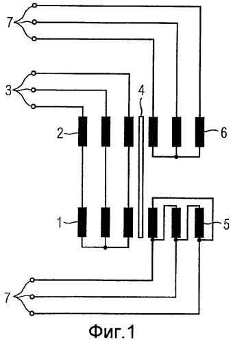 Питание параллельно включенных со стороны выхода мостовых выпрямителей повернутыми по фазе напряжениями вторичных обмоток, по меньшей мере, одного трансформатора