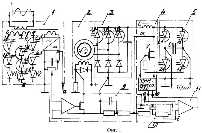 Генераторная установка заданных стабильных напряжения и частоты