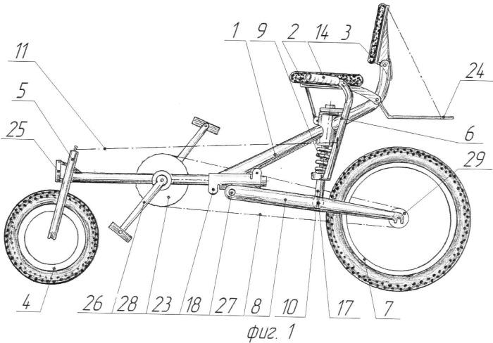 Двухколесное транспортное средство с амортизированной задней подвеской
