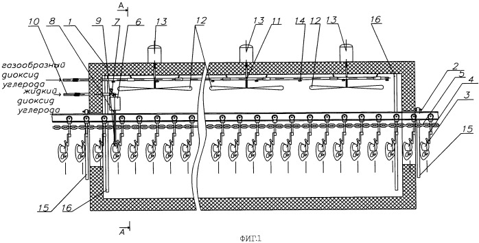 Устройство для холодильной обработки тушек птицы диоксидом углерода