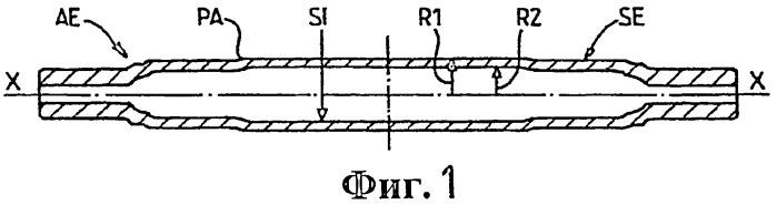 Способ и устройство автоматического неразрушающего контроля трубчатых колесных осей с профилями с переменными внутренним и наружным радиусами