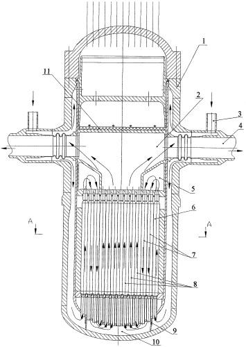 Корпусной ядерный прямоточный реактор, охлаждаемый водой сверхкритического давления с перегревом пара, и способ его эксплуатации