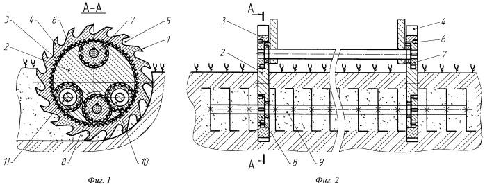 Устройство для ротационного внутрипочвенного рыхления с механическим приводом