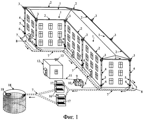 Энергоэффективное устройство утилизации дождевых и талых стоков с крыш зданий урбанизированных территорий