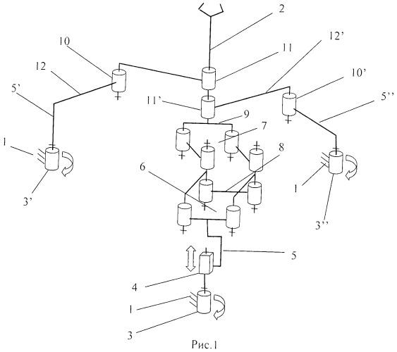 Пространственный механизм с четырьмя степенями свободы и кинематической развязкой