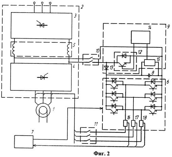 Тиристорное устройство для плавного частотного пуска высоковольтного синхронного электродвигателя (варианты)