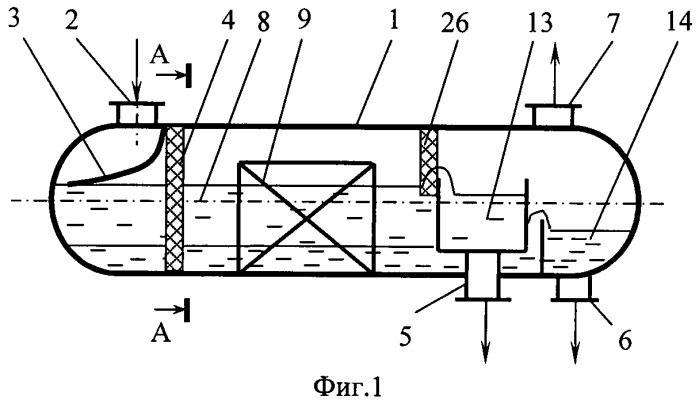 Разделитель несмешивающихся жидкостей легкой и тяжелых фаз с разной плотностью