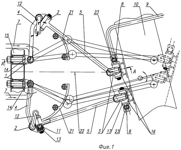 Система переброса рабочего тела для поворотного сопла турбореактивного двигателя