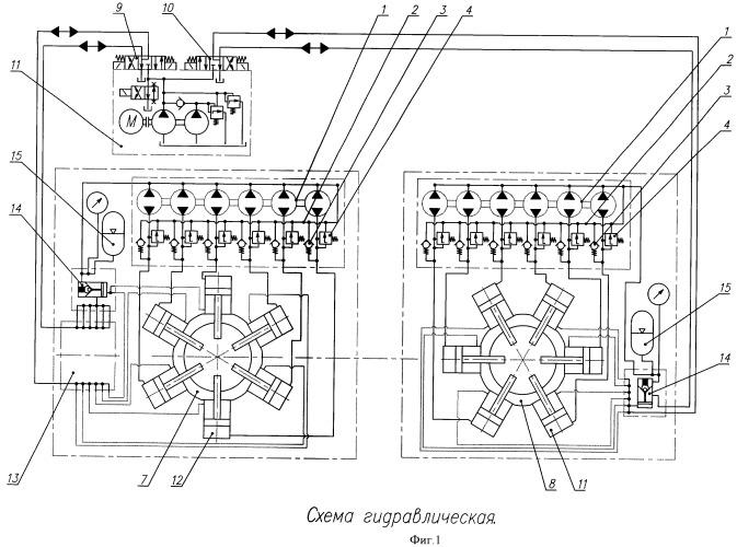 Способ управления гидроцилиндрами зажимного патрона стенда для свинчивания и развинчивания резьбовых соединений гидравлических забойных двигателей (варианты), стенд для свинчивания и развинчивания резьбовых соединений гидравлических забойных двигателей (варианты) и делитель (вариант)