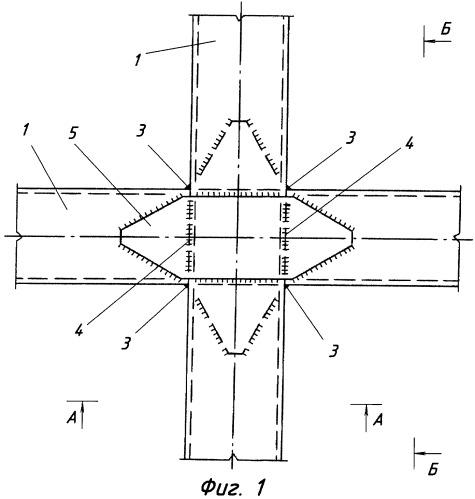 Сварной узел сопряжения перекрестных стержней