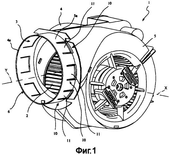 Коллектор спирального типа, в частности, для вентиляторов, используемых в коробах вытяжной вентиляции