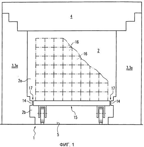 Стенка сушильной камеры, камеры обжига или камеры туннельной печи для изготовления конструктивных элементов из керамического или аналогичного материала и стеновой модуль для такой стенки