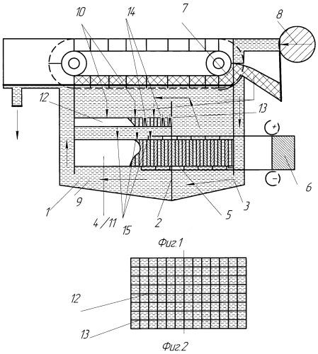 Электрофлотатор с устройством преобразования турбулентного потока жидкости в ламинарный