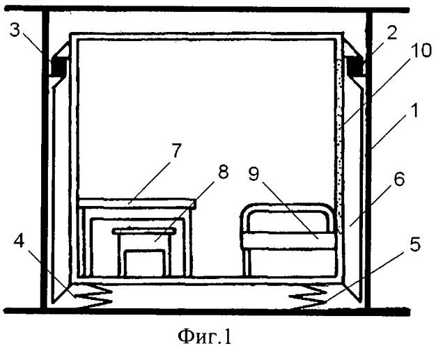 Рессорный виброизолятор судовой каюты