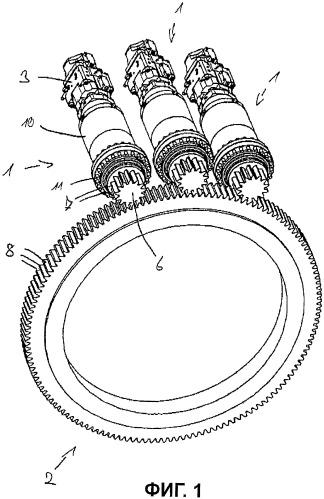 Привод, содержащий средство защиты от перегрузок, для приведения в движение кольцевой шестерни