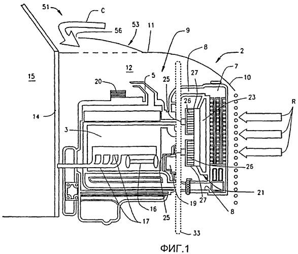 Система управления воздушным потоком для регулирования температуры в подкапотном пространстве грузового автомобиля большой грузоподъемности