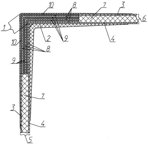 Угловое соединение борта с палубой корпуса судна из полимерных композиционных материалов