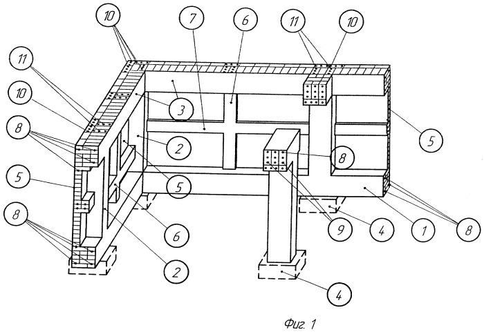 Армокаменный цоколь небольшого легкого здания с подвалом